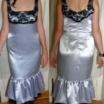 Satin dress with lace overlay